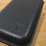 black lv taiga leather iphone case