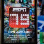 ESPN ScoreCenter – iPhone apps window display at Apple Store in San Francisco